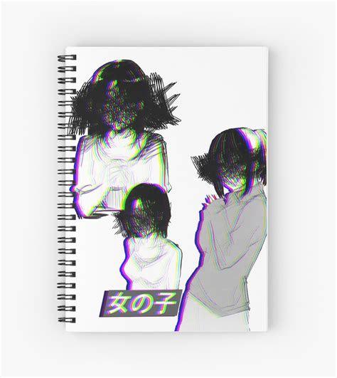 girls sad anime japanese aesthetic spiral notebooks