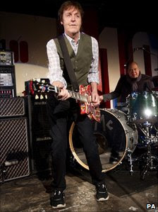 Sir Paul McCartney on stage at the 100 Club