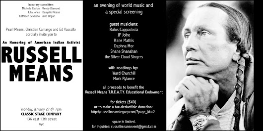 Please join @therealcamargo Jan 27th in NYC for Russell Means Honoring!