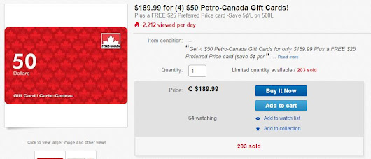 Nov 24 Quick Deal – $225 Petro Canada Gas for $185 on eBay