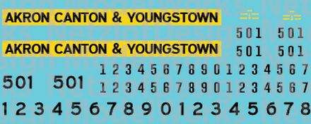 Akron Canton & Youngstown Yellow/Black Locomotive Decals