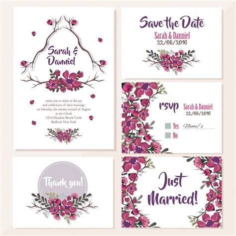 Wedding invitations floral design Vector   Free Download
