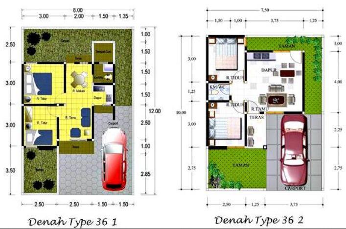 25 Denah Rumah Type 36 Minimalis 1 dan 2 Lantai | RUMAH IMPIAN