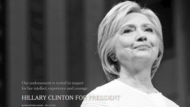 Así presentó The New York Times su respaldo a Hillary Clinton