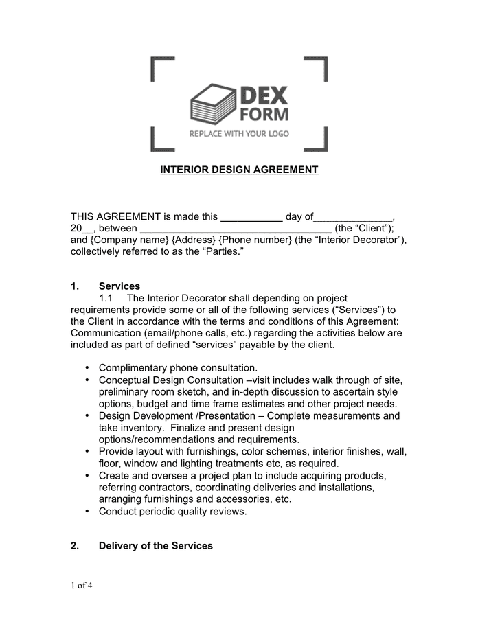 Interior Design Agreement Sample In Word And Pdf Formats