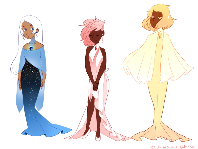 Drew the Diamonds (from su) as humans..kinda. I was in the mood to draw dresses and I've been having a lot of feelings for them with the new leaks I'm gonna throw my two cents in here and say that...