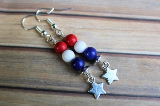 Fourth of July Earrings 4th of July Earrings Red White and