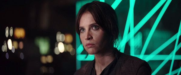 Jyn Erso is interrogated by Mon Mothma and her fellow officers (off-screen) in ROGUE ONE: A STAR WARS STORY.