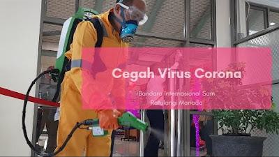 Cegah Virus Corona, Penyemprotan Desinfektan Dilakukan di Bandara Sam Ratulangi Manado