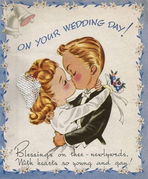 Vintage wedding congratulations card newlyweds bride groom