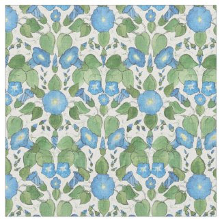 Pretty Blue Morning Glory Floral Fabric