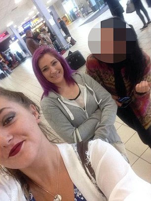Revenge: Becky Connery, 17, left, Lizzie Leeland-Cunningham, 20, centre, and the third girl went to Luton Airport