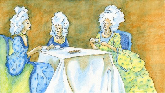 I love this Very Victorian Tea Party of three Victorian ladies with big wigs