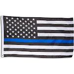 Blue Line Flag - Blue Lives Matter American Flag for Police, Firefighters, Emergency Services, Outdoor, Indoor Display, Black, White, Blue, 58 x 36