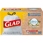 Glad Tall Drawstring Kitchen Bags, Fresh Vanilla with Febreze, 13 Gallons - 50 count