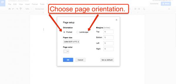Change Print Orientation In Docs