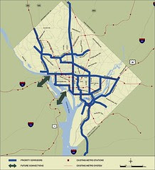 Proposed streetcar line map, DC