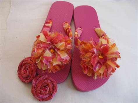 Pink Orange Decorated Flip Flops on Luulla