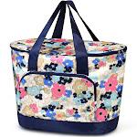 Zodaca Women Large Leak Resistant Cooler Bag Tote Carry Bag for Park Beach Picnic Camping - Ocean Bloom Flower