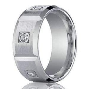 8mm Men?s 950 Platinum Burnish Diamond Wedding Band