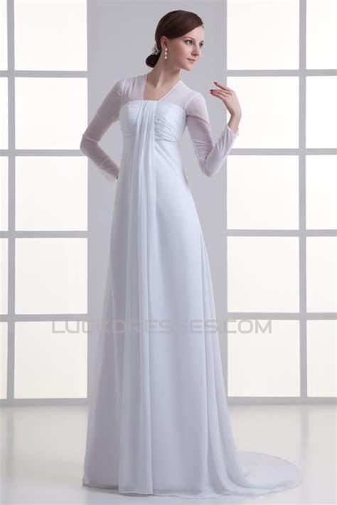 Empire V Neck Chiffon Long Sleeve Sheath/Column Wedding