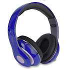 Altatac Bluetooth Wireless Headphones with Built In FM Tuner/Memory Card Slot/Mic, Blue