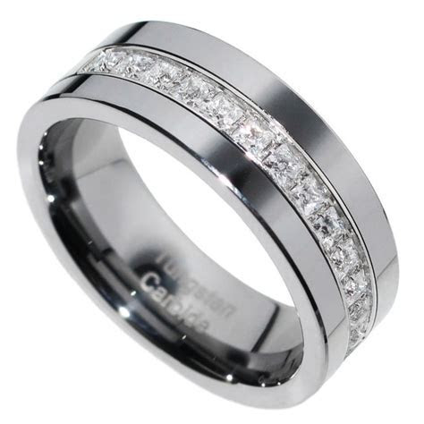 8mm Tungsten Carbide PRINCESS Stone CZ Men Women Wedding