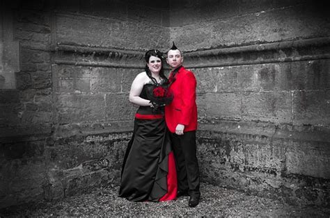 Red and black corset Goth wedding dress for Faye