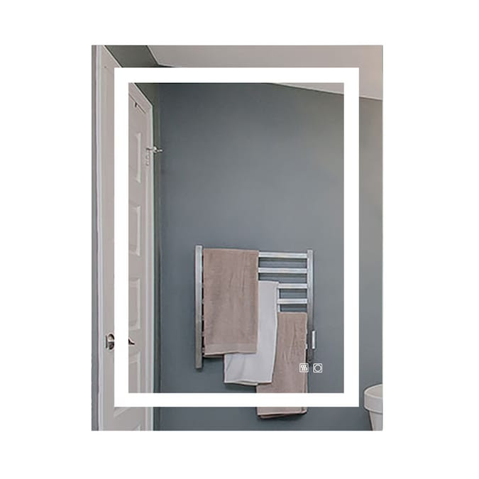 Exbrite Xero 28 In Lighted Led Fog Free Warm White 5 000k Color Temperature Rectangular Frameless Bathroom Mirror In The Bathroom Mirrors Department At Lowes Com