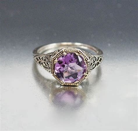Sterling Silver Filigree Amethyst Ring Size 7.5 Engagement