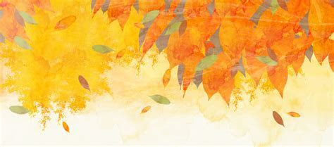 Autumn Leaves Yellow Watercolor Painted Background Art