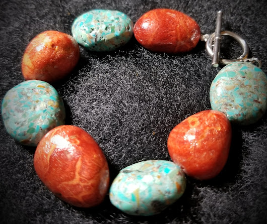 Chunky Turquoise and Coral Sterling Silver Bracelet