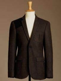 Burton Brown Tweed Slim Fit Gunpatch Blazer