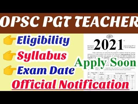 OPSC PGT teacher recruitment 2021