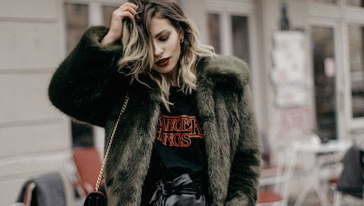 Le Fashion Blog Faux fur Coat Black Graphic T Shirt Via Masha Sedgwick