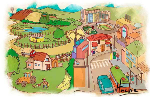 Ilustración para textos guía de sociales por Hache Holguín