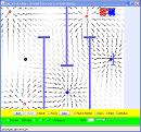 Screenshot of the simulation Electric Field Hockey