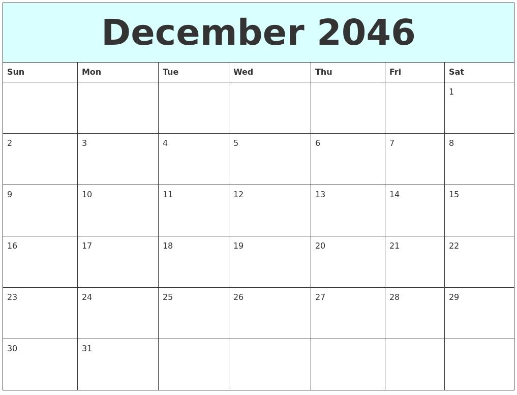 december 2046 free calendar