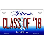 Smart Blonde MP-10308 7 x 4 in. Class of 18 Illinois Novelty Metal Motorcycle Plate