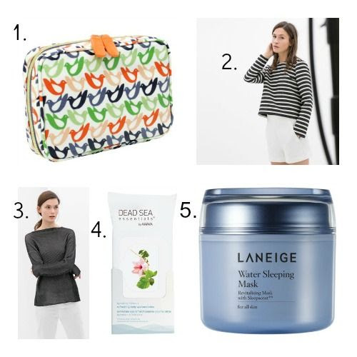 Orla Kiely Beauty Bag - Zara Sweaters - Dead Sea Essentials Body Towelettes - Laneige Water Sleeping Mask