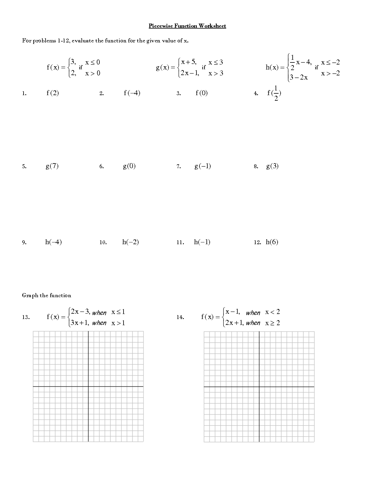 15 Best Images of Evaluating Functions Worksheets PDF  Piecewise Function Worksheet PDF