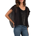 Standards & Practices Women's Black Sheer Sleeve Beaded Silk Top