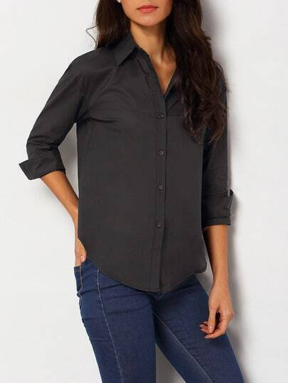 Black Lapel Long Sleeve Buttons Blouse pictures