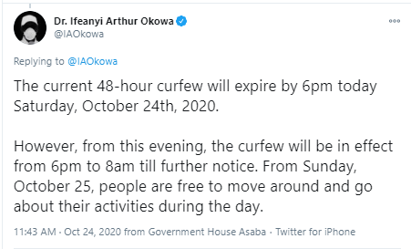 Governor Ifeanyi Okowa eases curfew in Delta state?