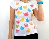 Popart Kitty heads Women Tshirt, handpainted tee /  M - ShebboDesign