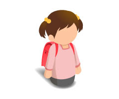無料素材 小学生の女の子のイラストアイコン赤いランドセルと