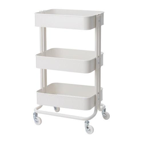 RÅSKOG ワゴン IKEA 頑丈なスチール製ワゴン。キャスター付きで移動も簡単です。コンパクトなので、狭いスペースでも活躍します 収納ニーズに合わせて、中段のシェルフの位置を調節できます キッチンや玄関、ベッドルーム、ホームオフィスの収納にも使えます