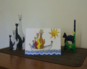 Original illustrated greeting card -  Sailing Cats