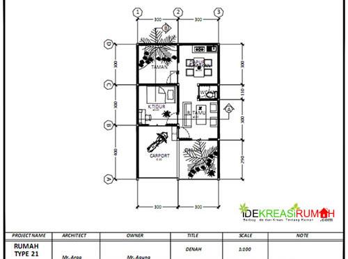 Desain Gambar Kerja Rumah Type 21 + Pengembangan | Ide ...