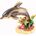 Ciel Collectables 1013652 Dolphin on Branch Gold Plating Trinket Box - Swarovski Crystals & Enamel